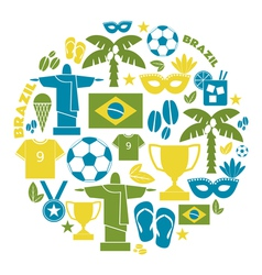 Flat design brazil icon and symbols on white vector