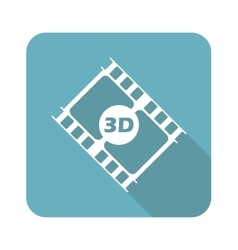 Square 3d movie icon vector