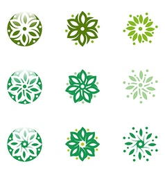 Abstract logo leaves circle ecology floral design vector