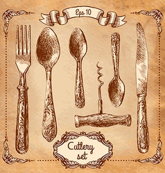 Retro transparent silverware icons sketch style vector