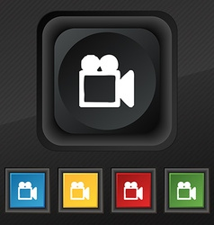 Camcorder icon symbol set of five colorful stylish vector
