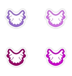 Set of paper stickers on white background nerves vector