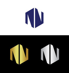 Divided abstract capital letter n vector