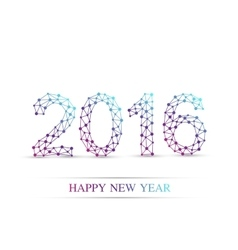 Text design happy new year 2016 molecule and vector