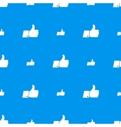 Thumbs up white icons on blue seamless pattern vector