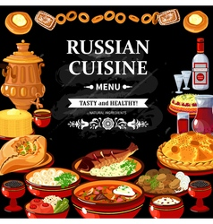 Russian cuisine menu black board poster vector