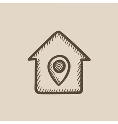 House with pointer sketch icon vector