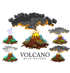 A set of volcanoes of varying degrees of eruption vector