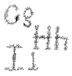 Alphabet in style of a sketch the letters G H I vector image