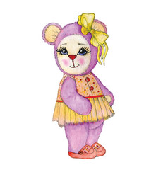 bear girl painted in watercolor vector image