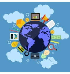 Business web applications with globe concept vector image