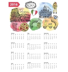 Calendar 2016ItalyRoma Landmarkssymbols vector image vector image