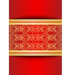 Card with banners and golden ornament vector image vector image
