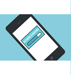 Cellphone downloading icon flat design vector