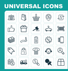 Commerce icons set collection of cardboard vector
