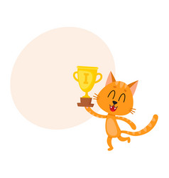 cute little red cat character champion holding vector image