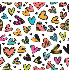 cute seamless pattern with hand drawn hearts cute vector image vector image