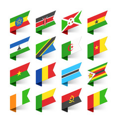 Flags of the world africa set 3 vector