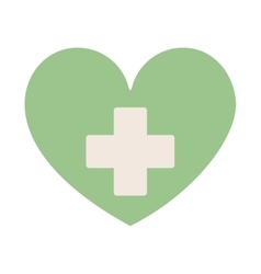 Green heart with sign cross vector