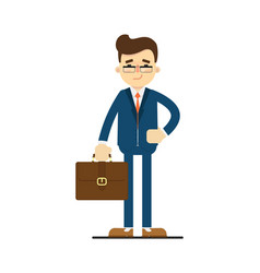 Happy businessman hold leather briefcase vector