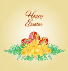 Happy easter eggs and daffodils place for text vector