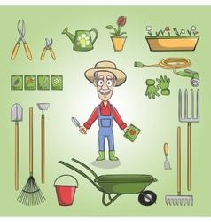 Happy gardener charactor set vector