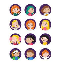 Happy little girls avatar icon set vector
