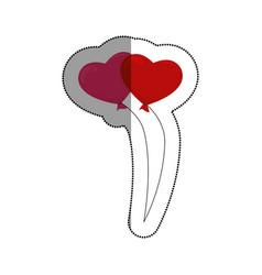 hearts balloons air icon vector image vector image