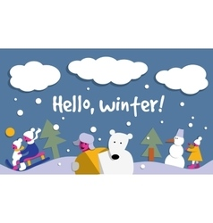 Hello winter snow sign flat card vector image vector image