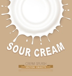 Isolated splash of sour cream on a brown backgroun vector