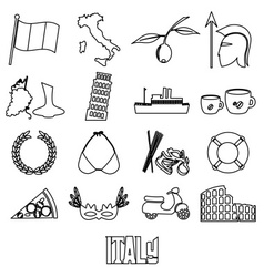 Italy country theme outline symbols and icons set vector