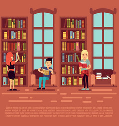library interior concept - teenagers and students vector image