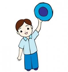 little boy waving vector image vector image