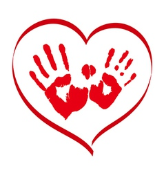 Man and woman red handprints in a heart on white vector image