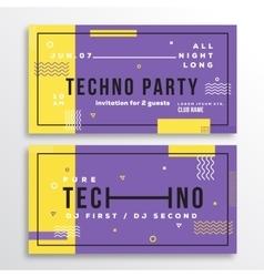 Night techno party club invitation card or flyer vector