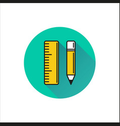 Pencil and ruler icon on white background vector