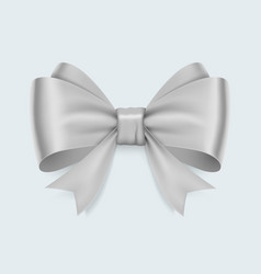 Realistic white bow isolated on white background vector
