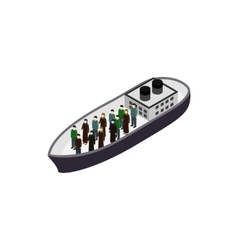 Refugees on ship icon isometric 3d style vector