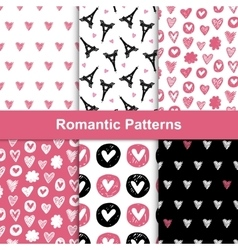 romantic seamless pattern set vector image vector image