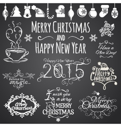Set of Merry Christmas and Happy New Year design vector image