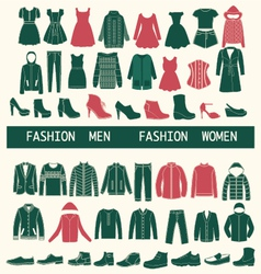 set with collection of men and women clothing vector image vector image