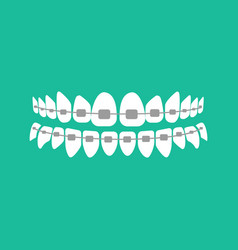 Teeth with braces vector