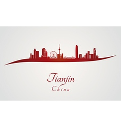 Tianjin skyline in red vector image
