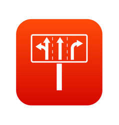 Traffic lanes at crossroads junction icon digital vector