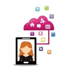 Woman smartphone cloud connection social media vector