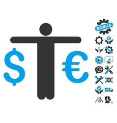 Currency trader flat icon with tools bonus vector