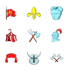 Medieval knight icons set cartoon style vector