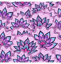 Spring pattern with violet handdrawn flowers vector image