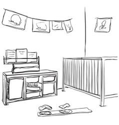 hand drawn children room baby bed sketch vector image