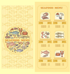Seafood menu card set of cute various seafood vector